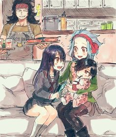 Fairy Tail Levy, Gajeel and Wendy. And is it just me or is that baby Rogue? Then that would mean Frosch wears Rogues baby clothing. Fairy Tail Levy, Fairy Tail Ships, Nalu, Fairytail, Erza Scarlet, Anime Fairy, Fan Art, Gajeel Et Levy, Fairy Tail Fotos