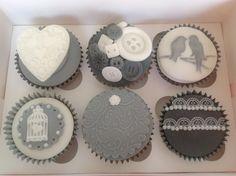grey black and white vintage cupcakes