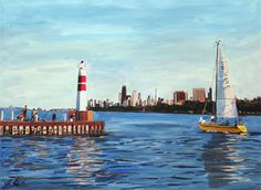 """New commissioned painting- """"The Odyssey at Montrose Harbor"""" x Watercolor Chicago Art Galleries, Chicago Artists, Natural Stills, City Painting, Urban Landscape, Sailboat, My Images, Sailing, Original Paintings"""
