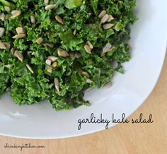 This unusual and delicious garlicky kale salad is so good, you'll make it over and over again! Veggie Recipes, Whole Food Recipes, Vegetarian Recipes, Cooking Recipes, Healthy Recipes, Free Recipes, Healthy Sides, Healthy Side Dishes, Kale Salad
