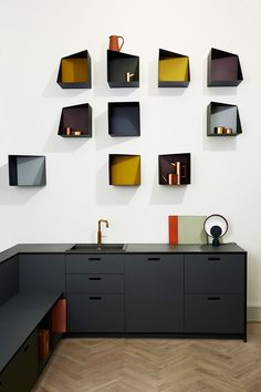 The asymmetrical and colourful addition of the Wall Boxes designed by Ludvig Storm at Please Wait To Be Seated. Photo courtesy of PWTBS. Source: http://www.yellowtrace.com.au/3-days-design-2016-copenhagen/