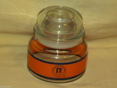 ROADWAY TRUCKING JAR LID CLEAR GLASS ORANGE BLUE QUALITY SERVICE CARRIER TRUCK