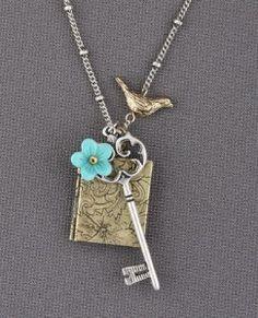 skeleton key, book, flower, bird locket