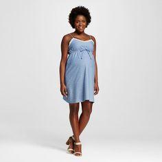 Maternity Slip Strap Belted Dobby Chambray Dress - MaCherie
