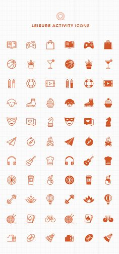 66 Free Line & Filled Leisure Activity Icons  by Qiuzao Zhang, via Behance