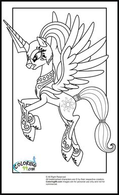 my little pony coloring pages | My Little Pony Princess Celestia Coloring Pages