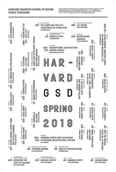 Get Lectured: Harvard, Spring '18. Poster courtesy of the school. | Archinect