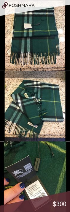 Rare Green Burberry Scarf Worn under 3 times, very beautiful and rare! Burberry Accessories Scarves