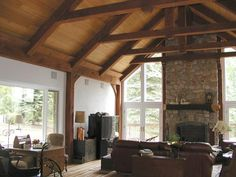 This timber framed living room area was an addition to an existing home with a Pennsylvania barn flair.