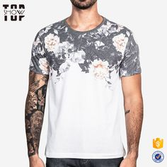 Chinese supplier black flower cheap custom mens t shirt printing design