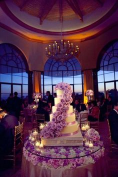 love this cake and the cake table. flower petals and candles on the cake table a… love this cake and the cake table. flower petals and candles on the cake table are a must Lavender Wedding Colors, Purple Wedding Cakes, Beautiful Wedding Cakes, Beautiful Cakes, Wedding Flowers, Dream Wedding, Lavender Cake, Lavender Color, Cake Wedding
