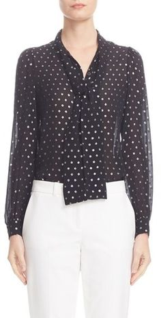 Women's Michael Kors Silk Tie Neck Shirt | A peppering of polka dots-a classic motif in Michael Kors' resort collection-sparkles and shines on this breezy Italian-silk shirt topped with a playful bow tie for a touch of vintage flair.