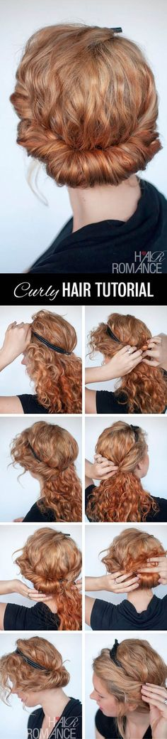 Hair Romance - curly hairstyle tutorial - rolled headband upstyle (Curly Hair Tips) Pretty Hairstyles, Braided Hairstyles, Perfect Hairstyle, Wedding Hairstyles, 1920s Hairstyles, Braided Chignon, Amazing Hairstyles, Simple Hairstyles, Holiday Hairstyles