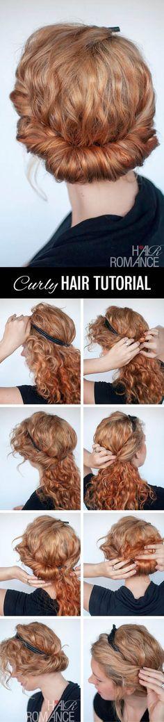 Idées et tuto coiffure headband cheveux bouclés, frisés et afro spécifique pour les cheveux courts, longs et mi longs, faire tenir son headband élastique en couronne.