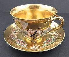 Antique Italian Capodimonte Tea Cup & Saucer