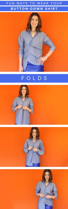 Wear your button-down shirt in a new way by changing up the way you button it. Try giving it a modern twist with folds.