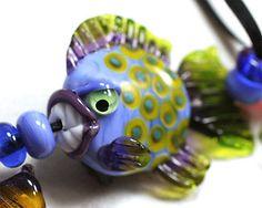 Jopanda Lampwork Blue Fish with Teeth #LampworkGlass <3