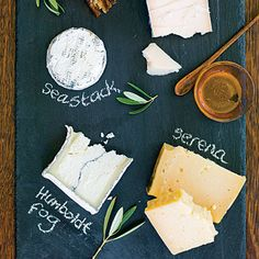Try a new kind of cheese plate    Serve three or four cheeses on a large piece of slate, labeling each with chalk so everyone knows what they're eating. Add some truffle honey, fig cake, and good crackers.