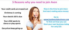 Work from home, be your own boss, earn $$$$ www.joysbeautybusiness.com #Avon #Workathome #Beyourownboss