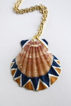 Sea Shell Necklace Pendant Necklace - Navy Blue, Mustard Yellow, and White Triangles Tribal Geometry Color Block. $58.00, via Etsy.