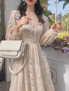 Cute Casual Outfits, Pretty Outfits, Pretty Dresses, Beautiful Dresses, Korean Fashion Dress, Ulzzang Fashion, Fashion Dresses, Kawai Japan, Mode Kpop