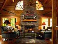 Lindal Cedar Home.  Every mountain getaway needs a wood burning fireplace.