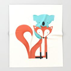 Fox & Koala throw blanket by Jay Fleck