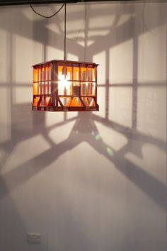 Milk crate lamp.