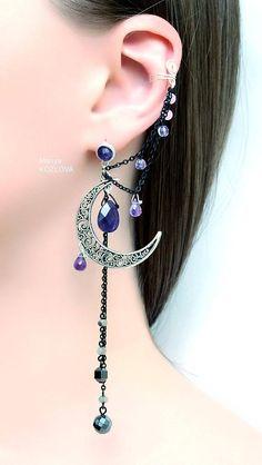 Silver Purple Lilac Night Ear Cuff with Fairy Amethyst Stars and Scroll Moon/ curl open work Moon/ ohr fake faux piercing/ ohrklemme ohrclip - Schmuck - Piercings Ear Jewelry, Cute Jewelry, Body Jewelry, Jewelery, Jewelry Accessories, Jewelry Design, Skull Jewelry, Hippie Jewelry, Women Accessories