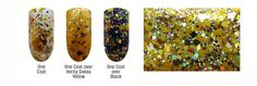 Topaz Optimism (November) - swatches over various colors and a macro shot