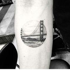 Circular Golden Gate Bridge tattoo
