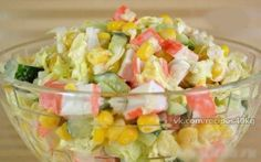 http://amazing-cooking.tumblr.com �Salad with crab sticks� � 100 gr - 55 kcal � protein - 2,8 � fat - 0,62 � carbohydrates to 9.56 � �Ingredients: ✔ Crab sticks - 1 pack (240g) ✔ Canned corn - 1 jar...