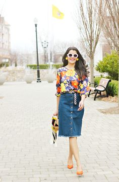 How to style bold floral prints, J.Crew Vintage Floral Blouse, Denim skirt, How to style denim skirt, how to wear denim midi skirt, zara orange pumps, cult gaia ark bag, Saint Laurent Oval White Sunglasses, White Frame sunglasses