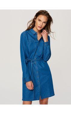 Jeansowa szmizjerka, Sukienki, kombinezony, niebieski, RESERVED
