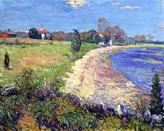 Curving Beach Oil Painting on Canvas of William James Glackens. American Realism, American Art, Ashcan School, Impressionist Paintings, Impressionism, Williams James, John Singer Sargent, Oil Painting On Canvas, Garden Art