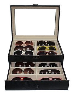 12 BLACK EYEGLASS SUNGLASS OVERSIZED STORAGE DISPLAY CASE GLASSES ORGANIZER