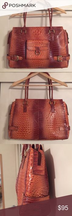 Croc embossed Large Tote Luxurious large leather tote with embossed croc effect. Perfect modern briefcase and laptop bag. Magnetic pocket on the front to store your cell phone. Slight wear on edges but not very noticeable. Gorgeous caramel color is perfect for summer or fall. Charlie Lapson Bags Totes