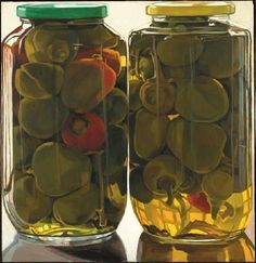 Jars of Peppers by Janet Fish Still Life Drawing, Painting Still Life, Food Illustrations, Illustration Art, Art Alevel, Still Life Photos, Realistic Paintings, Tea Art, Photorealism