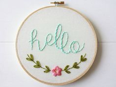 Hello Embroidered Sign, Embroidery Hoop Art, Hand Stitched Text Greeting, Hello Wall Hanging, Gift Idea