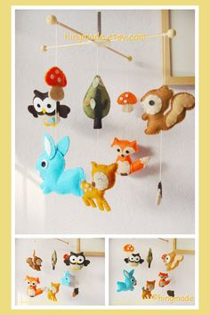 Baby Mobile Ceiling Hanging Mobile Woodland Deer Fox by hingmade, $128.00