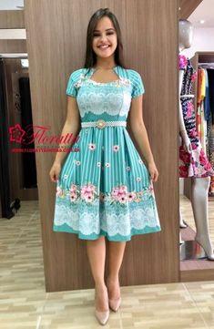 Floratta Modas - Moda Evangélica - A Loja da Mulher Virtuosa Modest Dresses, Pretty Dresses, Short Dresses, Girls Dresses, Formal Dresses, Modest Fashion, Girl Fashion, Fashion Dresses, Womens Fashion