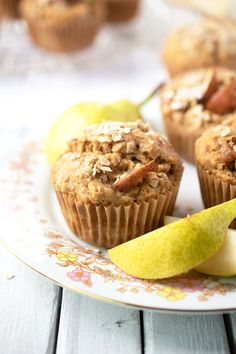 Pear Ginger Muffins (vegan) - moist, delicious, healthy, high in fiber - with the health benefits of California Bartlett Pears Vegan Gluten Free Breakfast, Vegan Breakfast Recipes, Vegan Snacks, Vegan Food, Breakfast Smoothies, Healthy Breakfasts, Breakfast Ideas, Pear Muffins, Delicious Desserts
