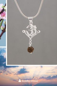 This sleek sterling silver Om pendant features a sacred Rudraksha seed for protection and spiritual energy. Made in India. Om Pendant, Pendant Necklace, Seven Chakras, Spiritual Jewelry, Lord Shiva, Natural Texture, How To Make Beads, Seed Beads, Cool Style