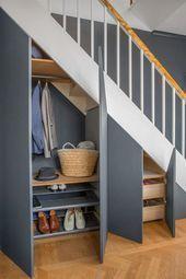 35 Awesome Storage Design Ideas Under Stairs Space Under Stairs, Under Stairs Cupboard, Closet Under Stairs, Staircase Storage, Staircase Design, Storage Under Stairs, Staircase Ideas, Modern Staircase, Under Stairs Storage Solutions