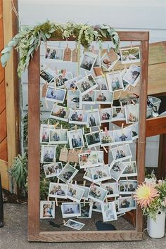 Wedding photo display idea: print pictures polaroid-style & add greenery...put near guest book?