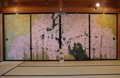 Japanese Door, Japanese Screen, Japanese Temple, Japan Design, Ceiling Painting, Traditional Japanese House, Plant Painting, Japanese Interior, Japan Art