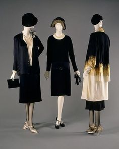 Three classic looks from Coco Chanel, 1920s.