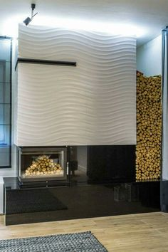 Beautiful fireplace design as a focal point. Contemporary Home in Poland by MWD-Designers Linear Fireplace, Fireplace Wall, Fireplace Design, Porcelanosa Tiles, Interior And Exterior, Interior Design, Entry Wall, Tiles Texture, Loft