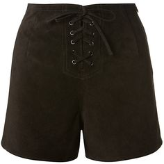 Alexa Chung For Ag Jeans Black Suede Shorts (£810) ❤ liked on Polyvore featuring shorts, suede shorts, black shorts, mid rise shorts, ag adriano goldschmied and laced shorts