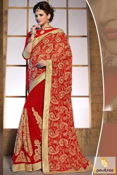 Designer wedding saree in red 60 gram material.